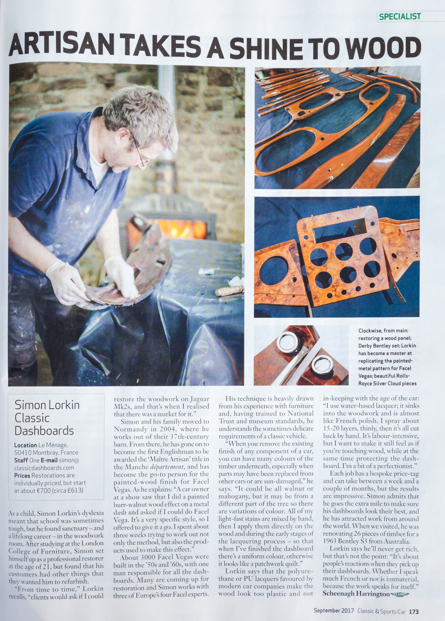 Discover the Classic and Sports Car article about Simon Lorkin of Classic Dashboards